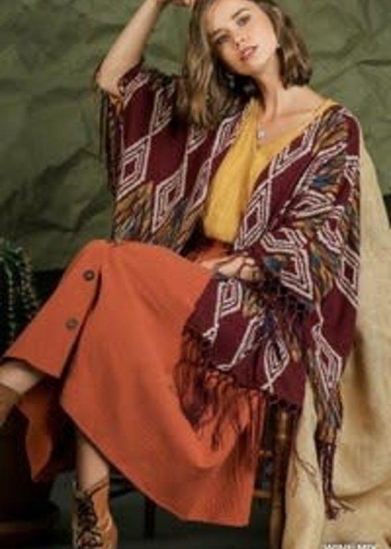 Umgee Navajo Print Open Front Kimono