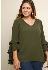 Umgee Layered Ruffle High Low Sleeve
