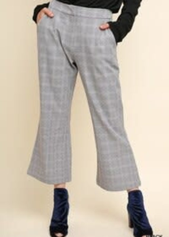 Umgee Plaid Cropped Flare Leg Trouser