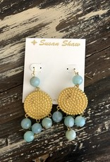 Susan Shaw Dotted Disc Stone Earrings