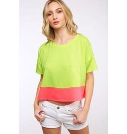 Peach Love Color Block SS Knit Top