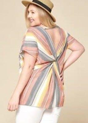 ODDI Multi-Colored Striped Blouse