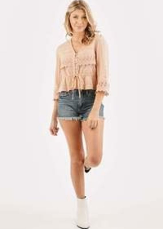 Loveriche 3/4 Slv Top W/Lace Detailing