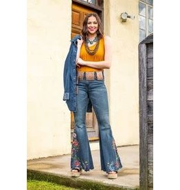 L & B Flare Jeans w/Rose Embroidery-14