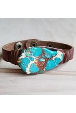 Jewelry Junkie Blue Regalite Chunk Narrow Cuff