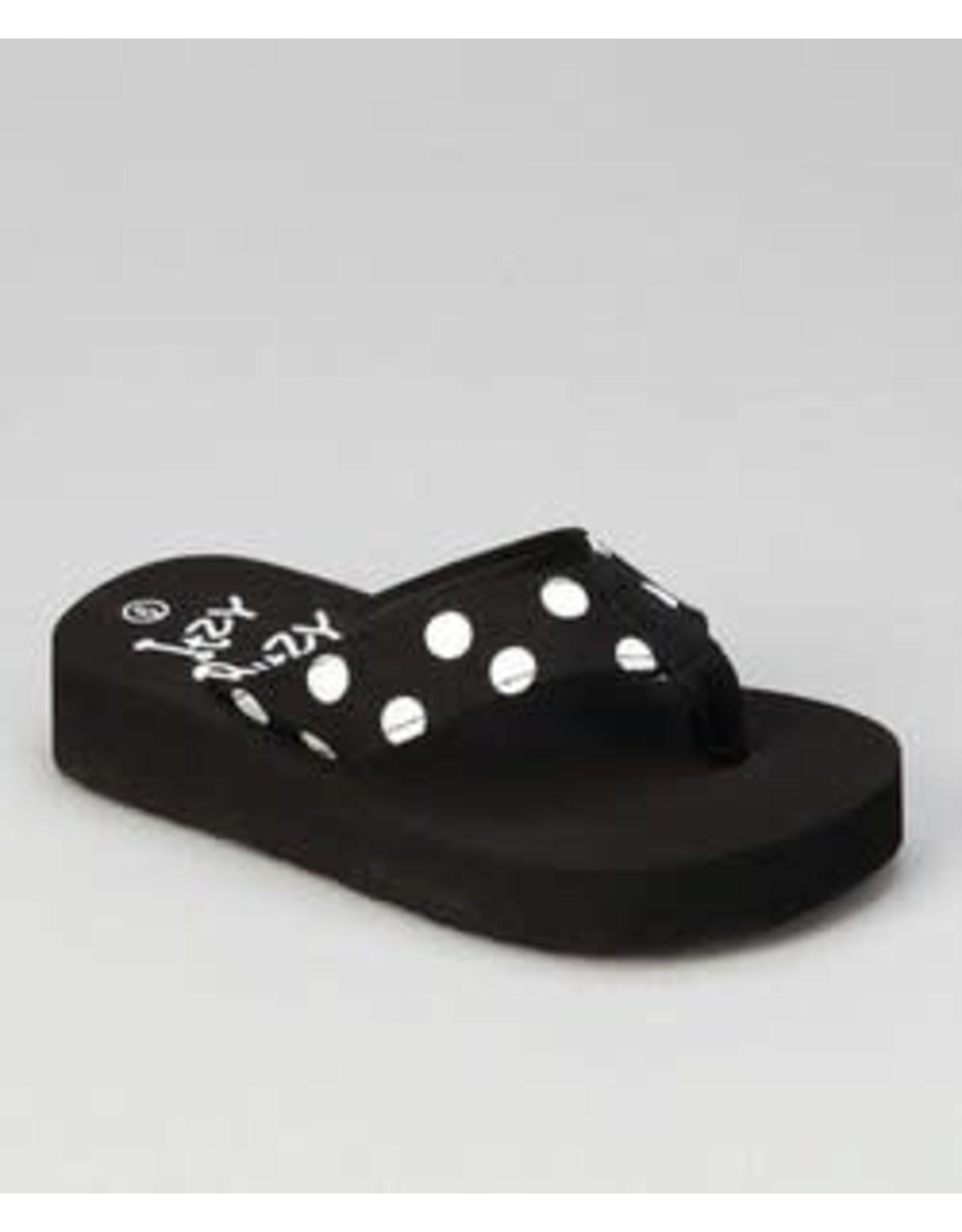 Itzy Bitzy Black & White Polka Dot Flip Flops