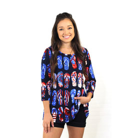 Multiples Textured Knit Print Tunic