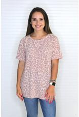 Macaron Leopard Print Raglan Sleeve Top