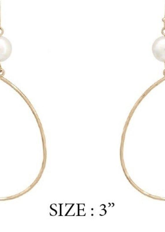 What's Hot Jewelry Gold Teardrop Earring w Pearl