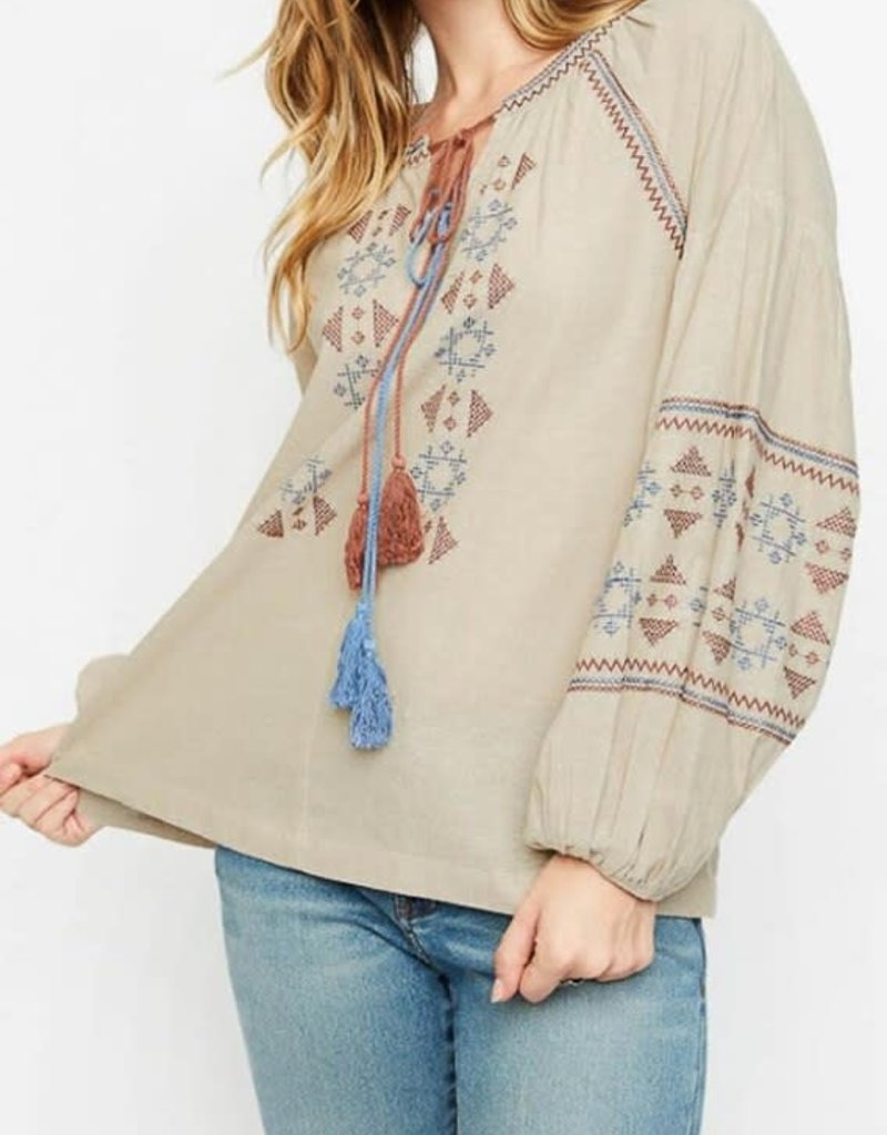 Hayden Los Angeles Double Tassle Embroidered Top