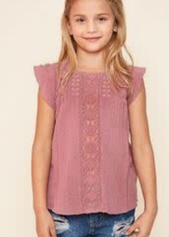 Hayden Los Angeles Crochet Flutter Sleeve Top