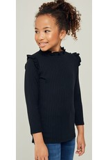 Hayden Los Angeles Black Ruffle Neck Top