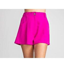 Glam LA Pleated High Waist Shorts-Magenta