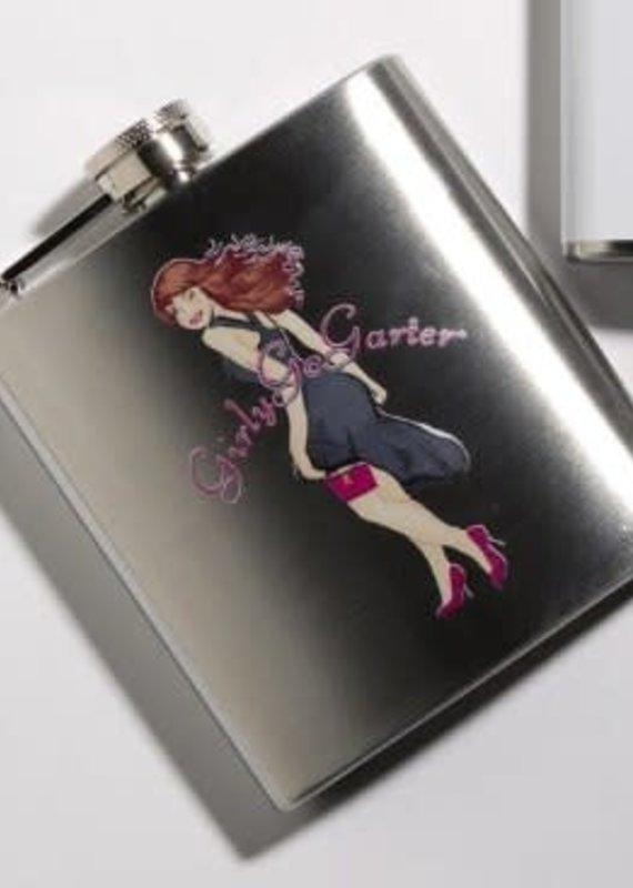 Girly Go Garters Silver Flask