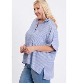 Ee:some Stripe Hi-Low Shirt