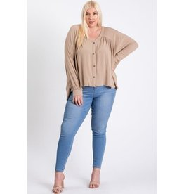 Ee:some Pleated Button Down Long Slv