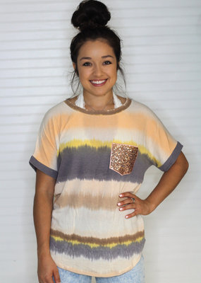 Nadia Tie Dye Top with Sequin Pocket