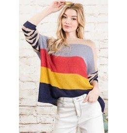 Davi & Dani Vivid Multi Stripe Boyfriend Sweater
