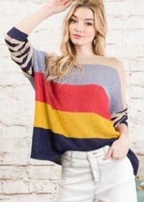 Davi & Dani Vivid Multi Stripe Boyfriend Sweater