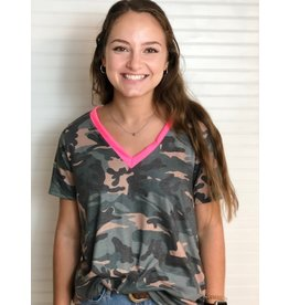 Macaron Camouflage V-Neck Top