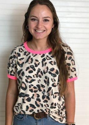 Macaron Leopard Print Ringer Top