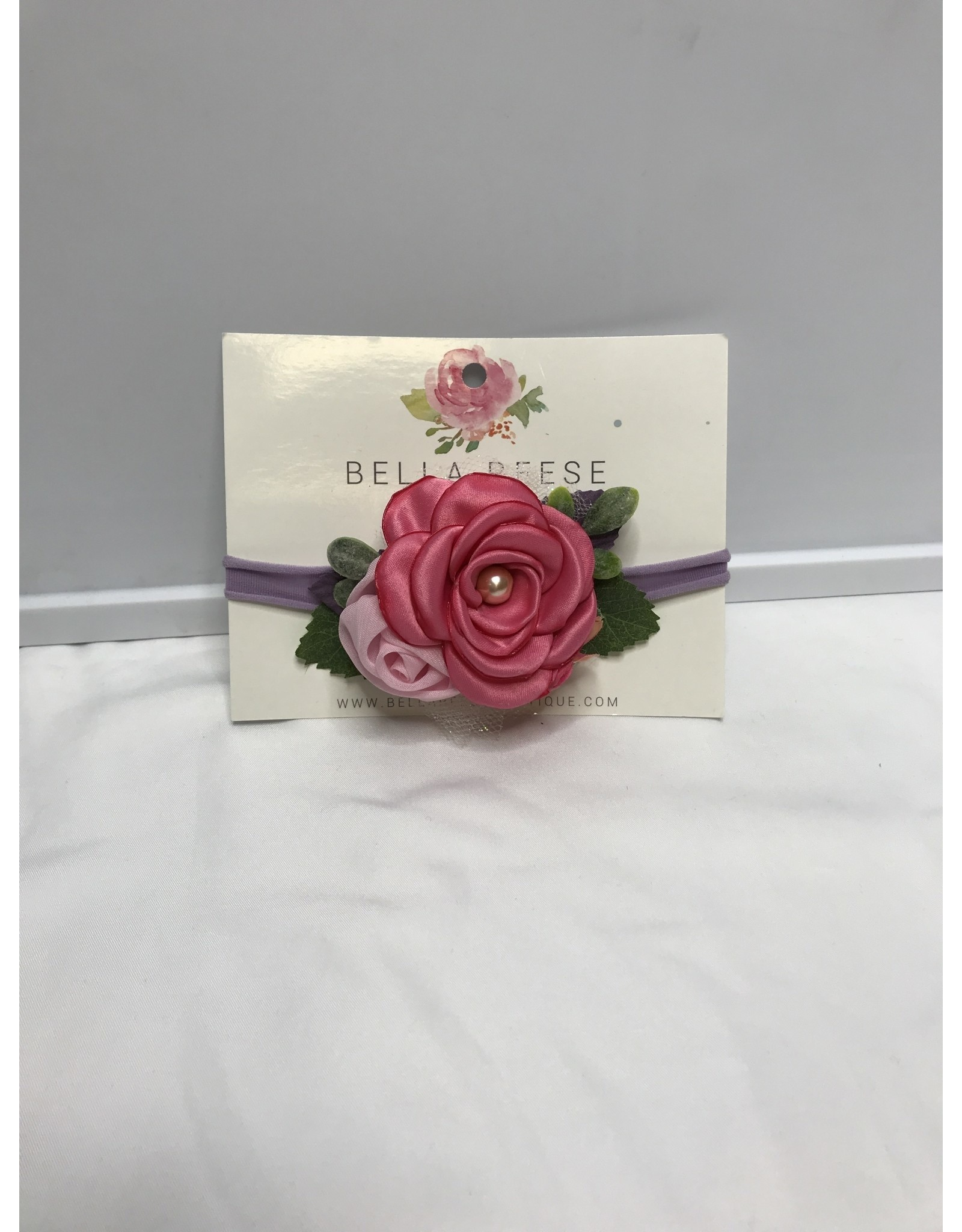 Bella Reese Baby Headbands with Accents-Pink Rose