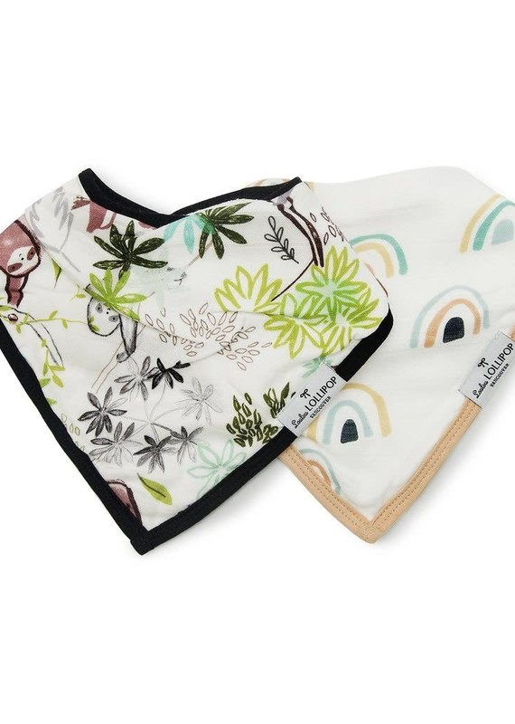 LouLou Lollipop Bandana Bib Set-Sloth