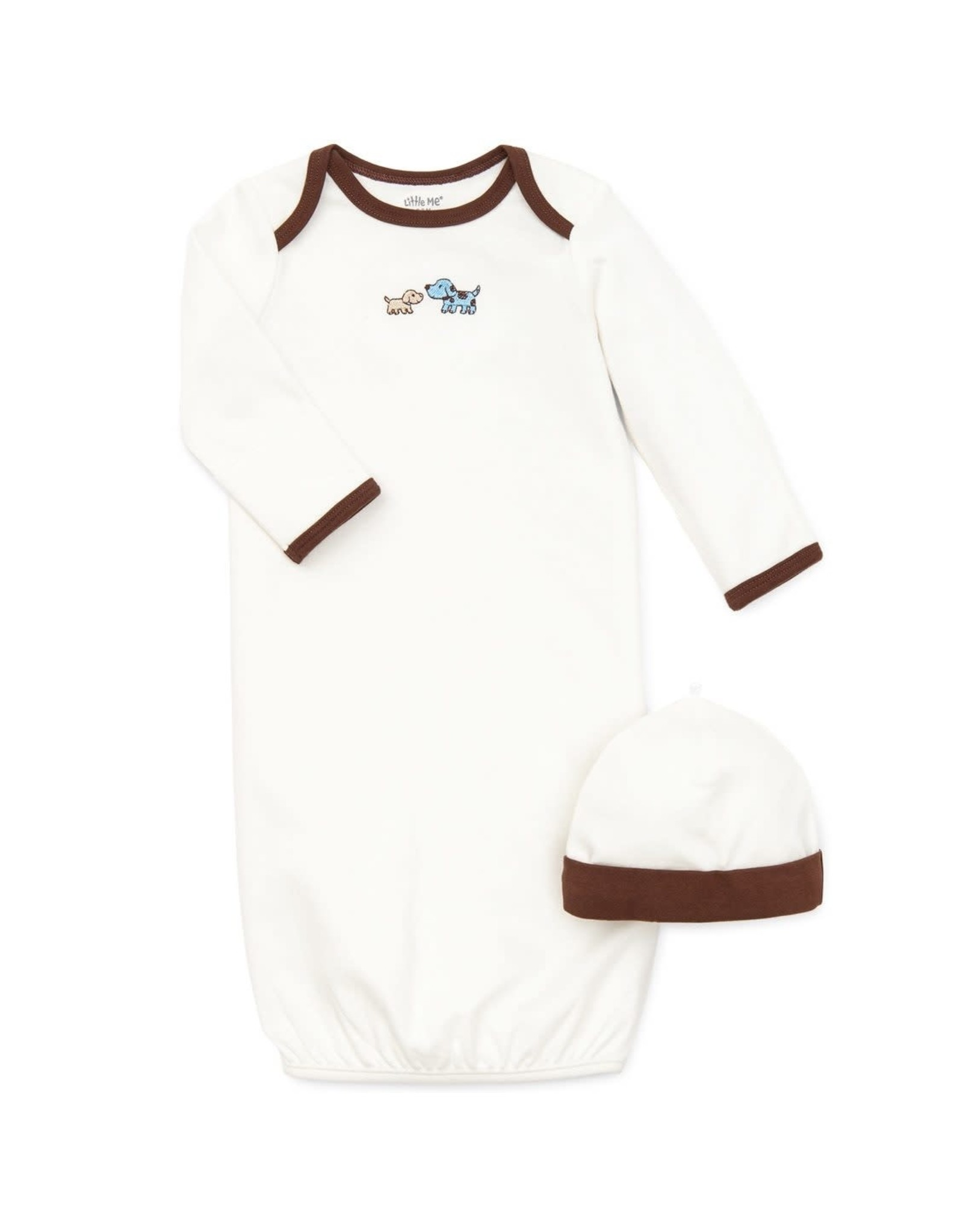 Little Me Cute Puppies Gown-0/3M
