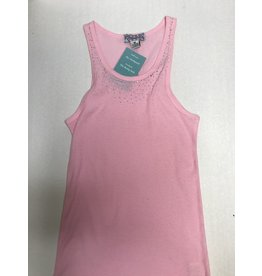 Pink Cattlelac Tank With Crystals-M