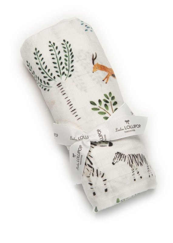 LouLou Lollipop Muslin Swaddle-SAFARI JUNG