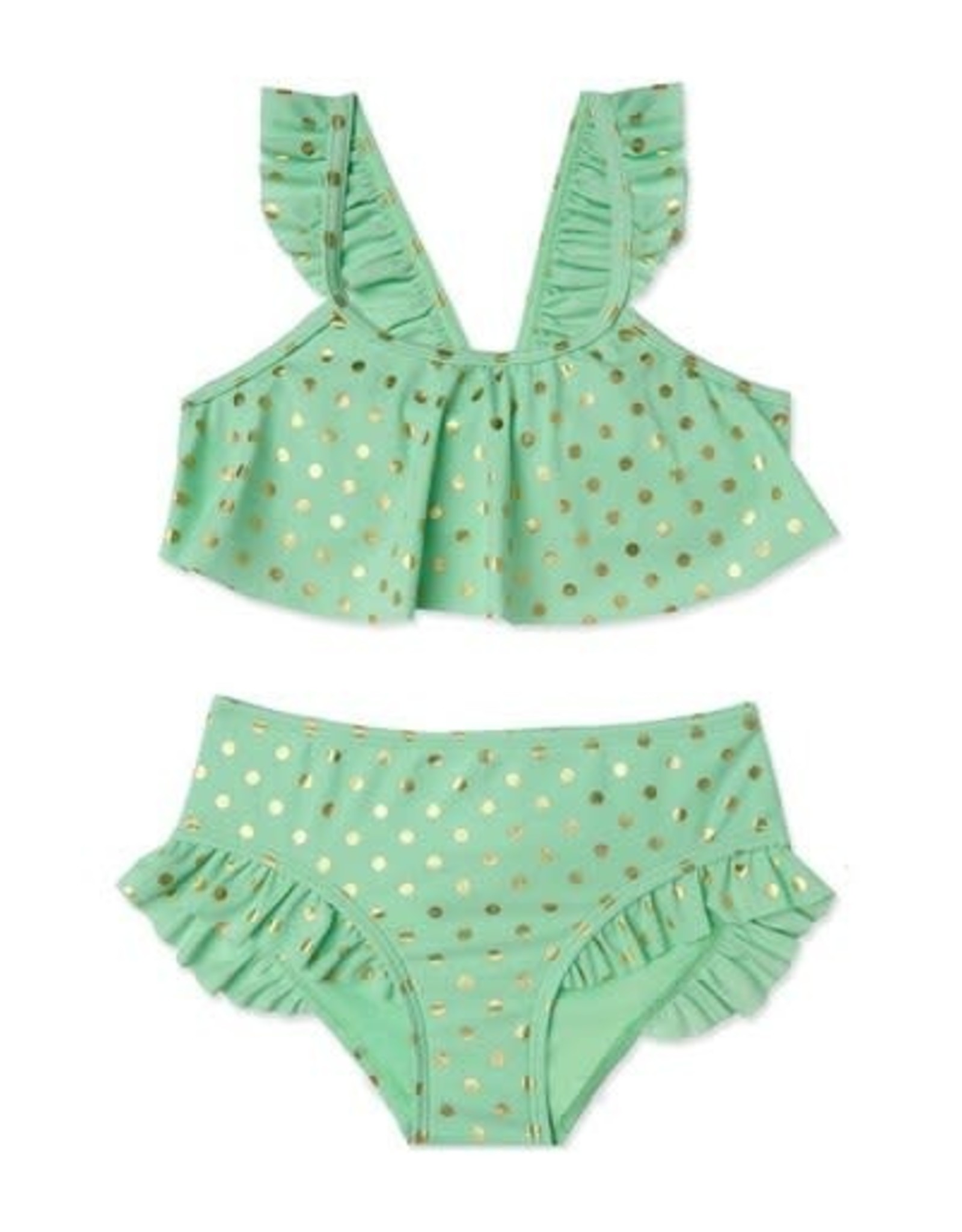 Malibu Design Group 2 Piece Mint/Gold Polka Dot 3T