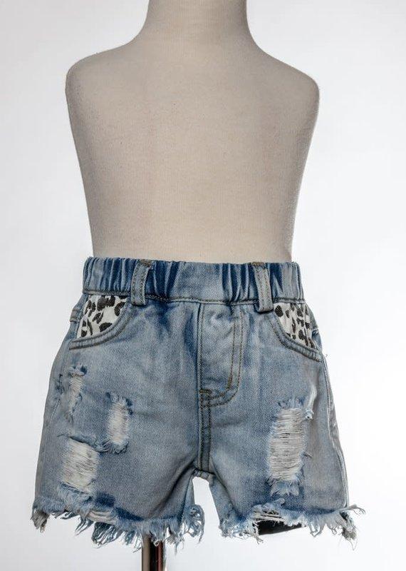 ML Kids Leopard Pocket Distress Shorts-4T