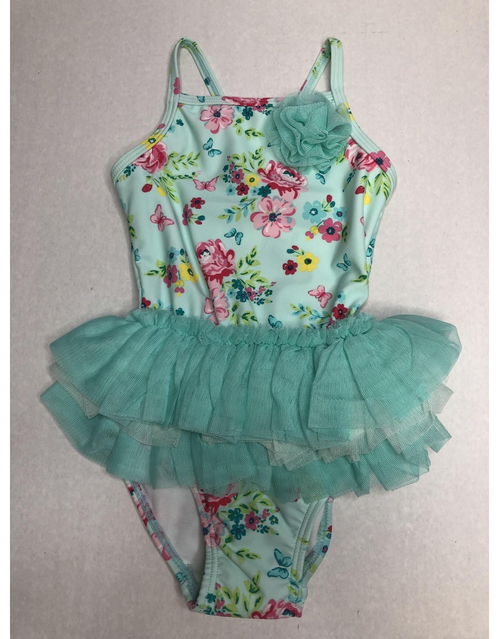 Little Me Aqua Floral Swimsuit 24M
