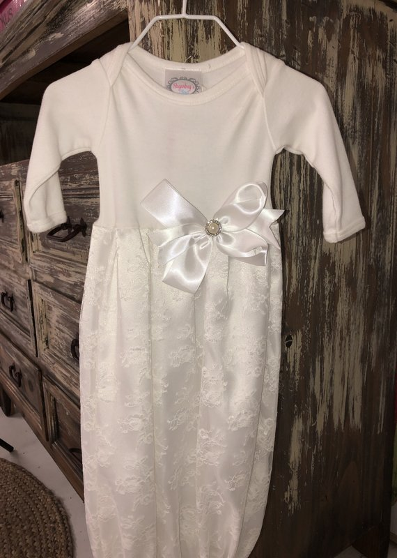 Sugarbugs Closet Satin White Lace Gown 0/3M