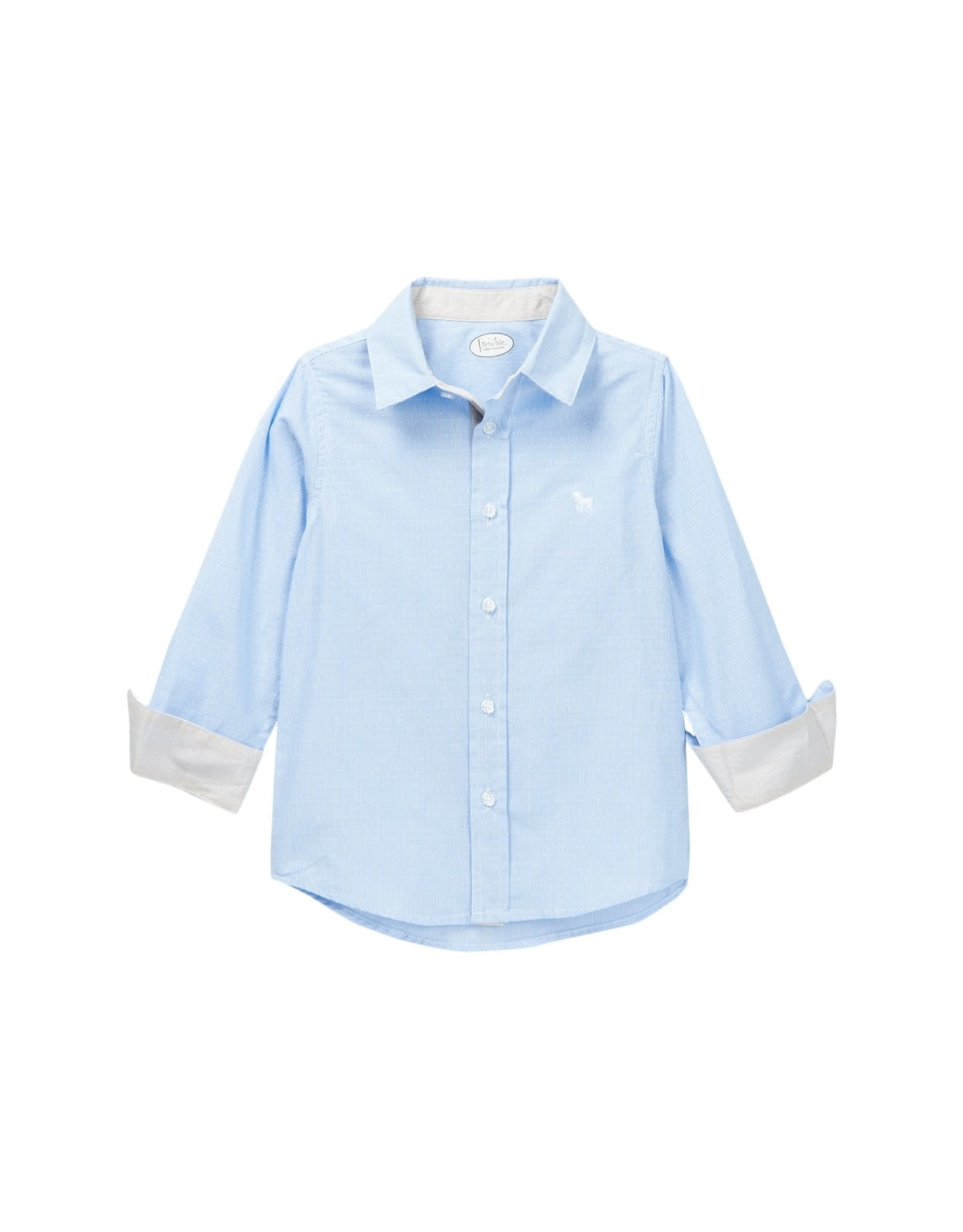 Frenchie Mini Couture Blue Swiss Dot Shirt-2T