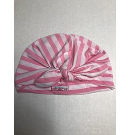 Beyond Creations Girl's Turban Hat w Knot Bow-PNK/WHT
