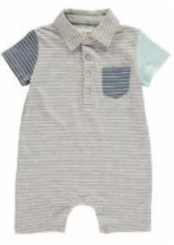 Me & Henry Polo Romper - Grey
