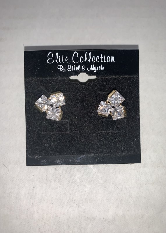 Ethel and Myrtle Inc Gold Earring CZ Crystal