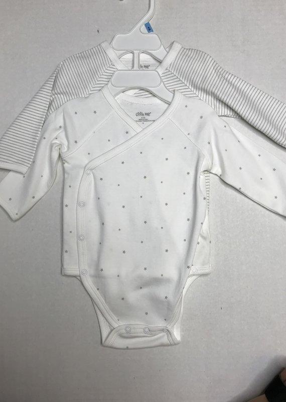 Little Me Stars 2 Pack Wrap Bodysuits-6M