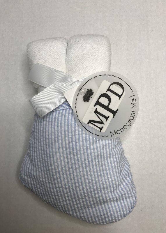 Mud Pie Blue Seersucker Hooded Towel