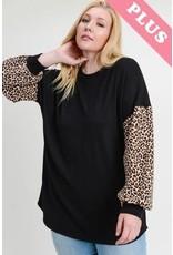 First Love Black Top w/ Cheetah Print Slv