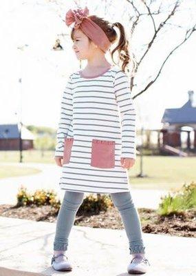 Rufflebutts Slate & Ivory Pocket Dress