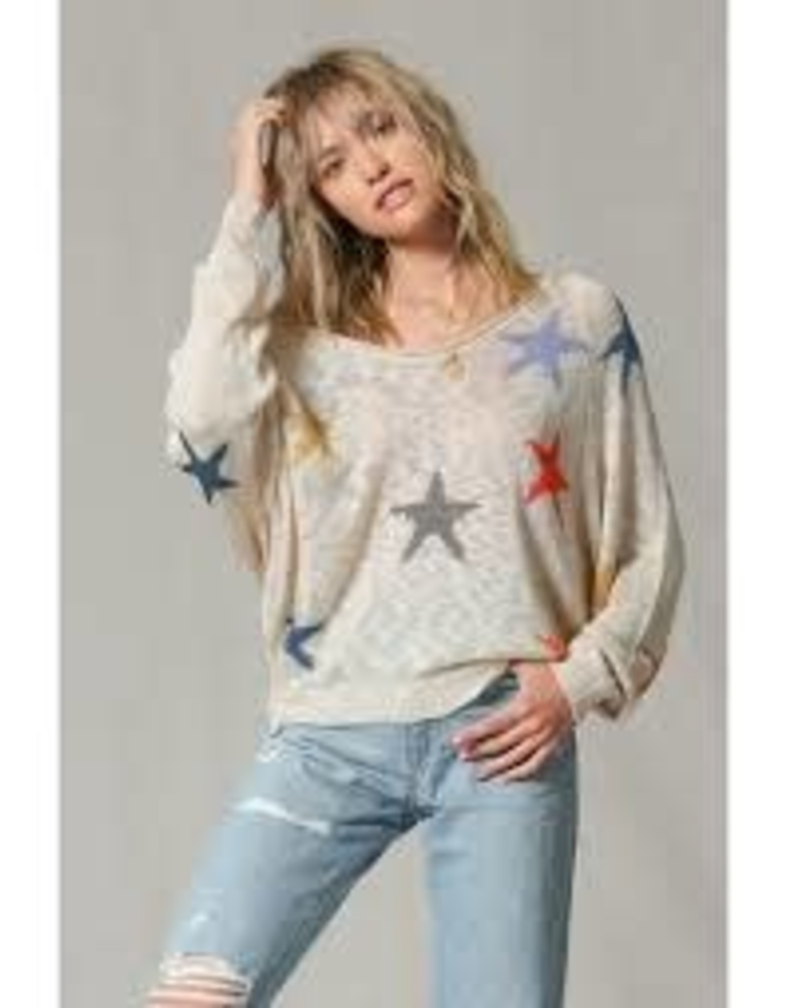By Together Knit Multi Color Star Pull Over
