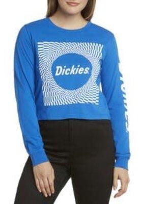 Dickies Blue Check Long Sleeve Crop Top