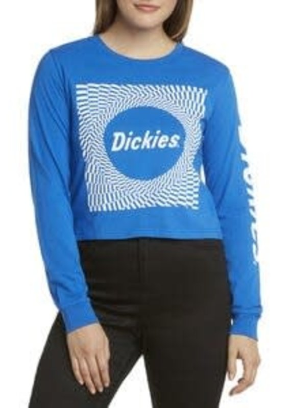 Dickies Blue Check Long Sleeve Crop Top