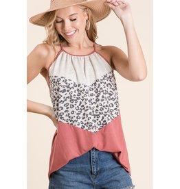 Macaron Halter Neck Color Block Top