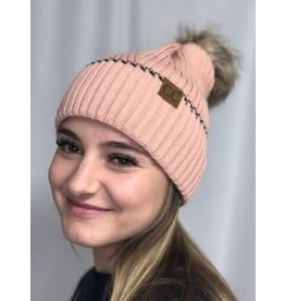 Cheveux Corp Solid Pom Beanie