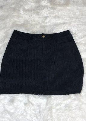 Juicy Gossip Corduroy Skirt-Black