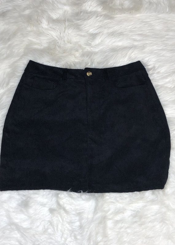 Juicy Gossip Corduroy Skirt-Black