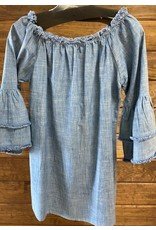 Asha International Denim Tunic w Frayed Trim